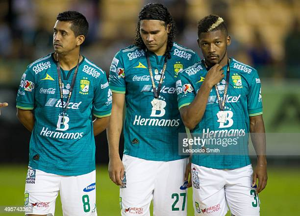 Elias Hernandez Carlos Pena and Jonathan Gonzalez of Leon gesture after a defeat in the Final match between Leon and Chivas as part of the Copa MX...
