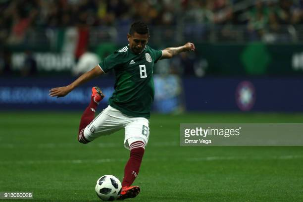 Elias Hernandez kicks the ball during the friendly match between Mexico and Bosnia and Herzegovina at Alamodome Stadium on January 31 2017 in San...