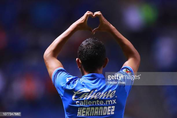 Elias Hernandez of Cruz Azul celebrates after scoring the first goal of his team during the first round match between Puebla and Cruz Azul as part of...