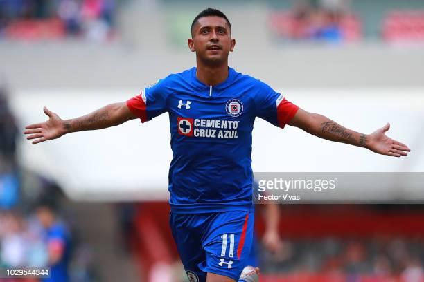 Elias Hernandez of Cruz Azul celebrates after scoring the second goal of his team during the 8th round match between Cruz Azul and Veracruz as part...