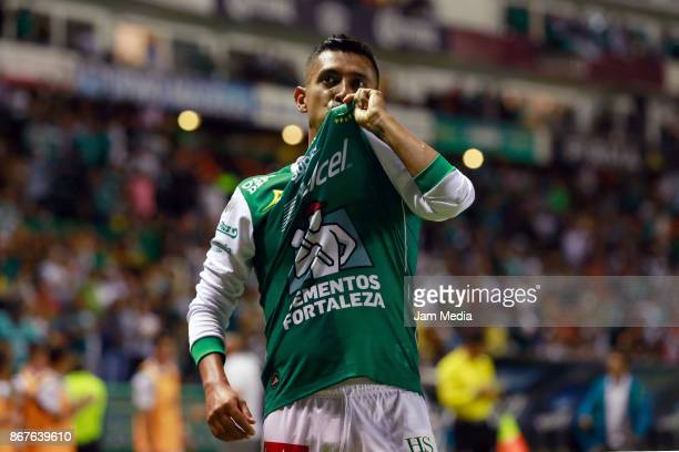 Elias Hernandez of Leon celebrates after scoring the fourth goal of his team during the 15th round match between Leon and Veracruz as part of the...