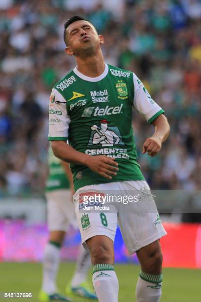 Elias Hernandez of Leon reacts during the 9th round match between Leon and Pachuca as part of the Torneo Apertura 2017 Liga MX at Leon Stadium on...