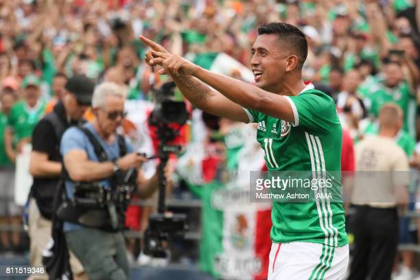 Elias Hernandez of Mexico celebrates after scoring a goal to make it 21 during the 2017 CONCACAF Gold Cup Group C match between Mexico and El...