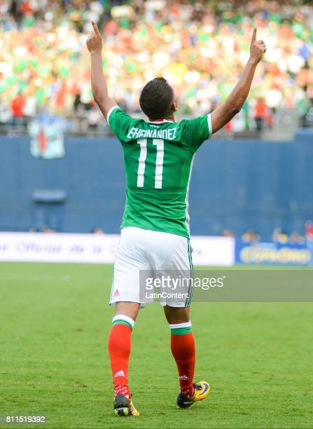 Elias Hernandez of Mexico celebrates after scoring the second goal for his team during a Group C match between Mexico and El Salvador as part of Gold...