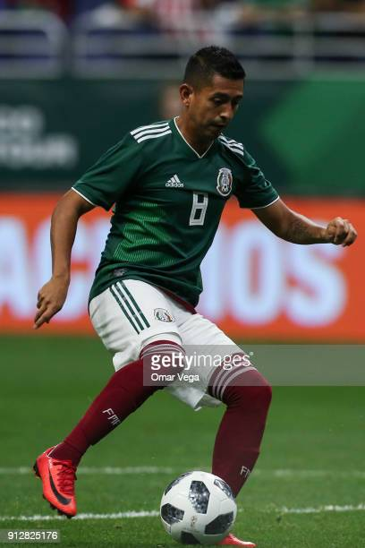 Elias Hernandez of Mexico drives the ball during the friendly match between Mexico and Bosnia and Herzegovina at Alamodome Stadium on January 31 2017...