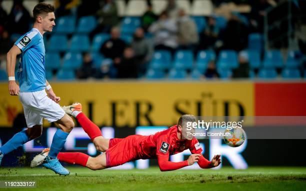 Elias Huth of Zwickau scores his team's second goal during the 3. Liga match between Chemnitzer FC and FSV Zwickau at Stadion an der Gellertstrasse...