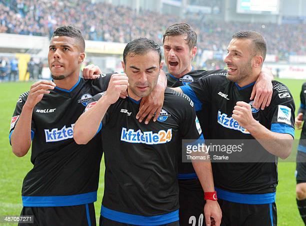 Elias Kachunga Mahir Saglik Marc Vucinovic and Sueleyman Koc celebrate their teams second goal during the Second Bundesliga match between SC...