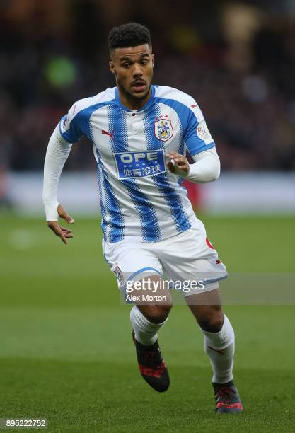 Elias Kachunga of Huddersfield during the Premier League match between Watford and Huddersfield Town at Vicarage Road on December 16 2017 in Watford...