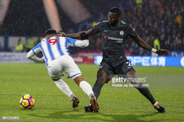 Elias Kachunga of Huddersfield Town and Antonio Rudiger of Chelsea during the Premier League match between Huddersfield Town and Chelsea at John...