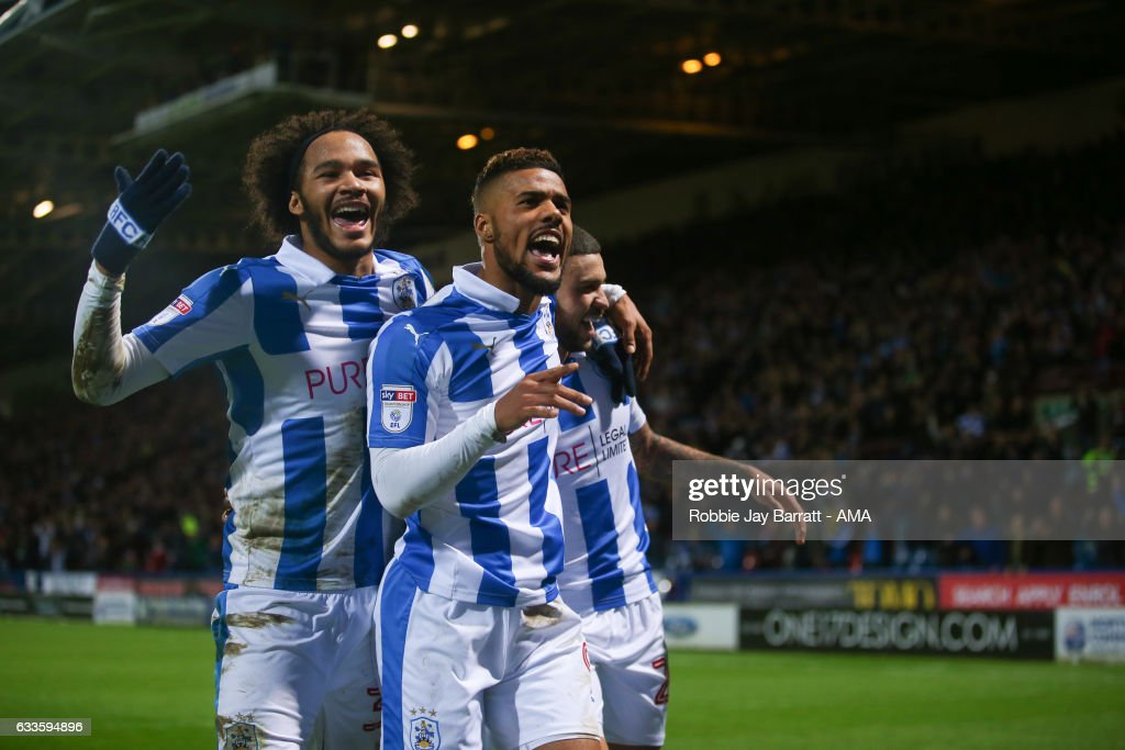 Elias Kachunga of Huddersfield Town celebrates after scoring a goal to make it 3-1 during the Sky Bet Championship match between Huddersfield Town and Brighton & Hove Albion at The John Smiths Stadium on February 2, 2017 in Huddersfield, England.