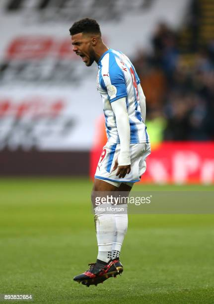 Elias Kachunga of Huddersfield Town celebrates after scoring his sides first goal during the Premier League match between Watford and Huddersfield...