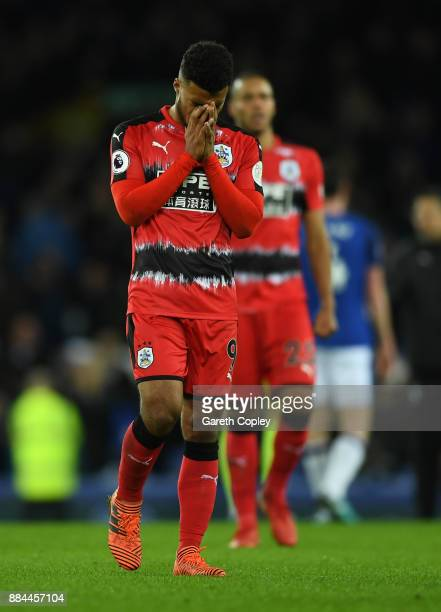 Elias Kachunga of Huddersfield Town look dejected after the Premier League match between Everton and Huddersfield Town at Goodison Park on December 2...