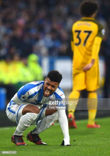 Elias Kachunga of Huddersfield Town reacts during the Premier League match between Huddersfield Town and Brighton and Hove Albion at John Smith's...