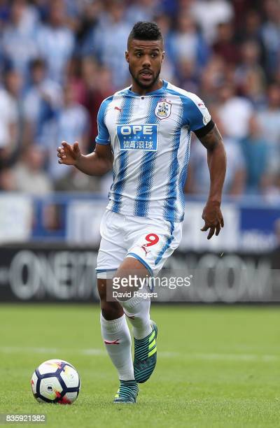 Elias Kachunga of Huddersfield Town runs with the ball during the Premier League match between Huddersfield Town and Newcastle United at John Smith's...