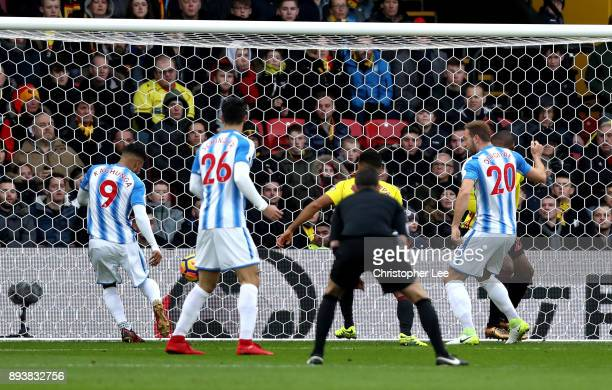 Elias Kachunga of Huddersfield Town scores his sides first goal during the Premier League match between Watford and Huddersfield Town at Vicarage...