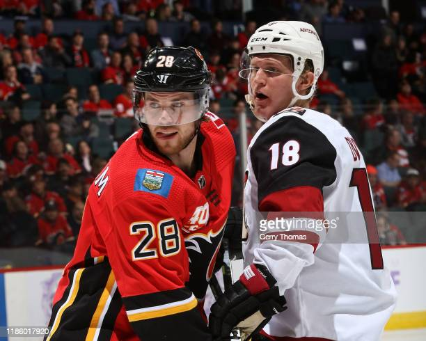 Elias Lindholm of the Calgary Flames and Christian Dvorak of the Arizona Coyotes compete for position during an NHL game on November 5 2019 at the...