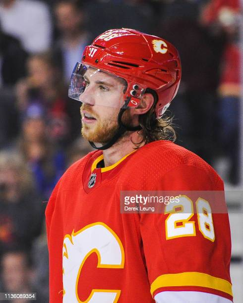 Elias Lindholm of the Calgary Flames in action against the New York Rangers during an NHL game at Scotiabank Saddledome on March 15 2019 in Calgary...