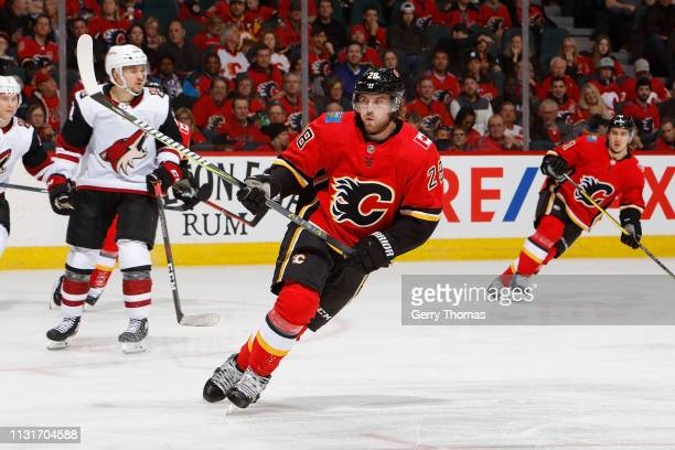 Elias Lindholm of the Calgary Flames skates against the Arizona Coyotes at Scotiabank Saddledome on February 18 2019 in Calgary Alberta Canada