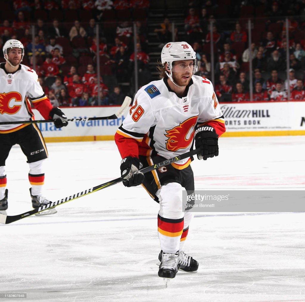the latest 156f6 f6cfc Elias Lindholm of the Calgary Flames skates against the New ...