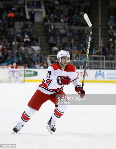 Elias Lindholm of the Carolina Hurricanes in action against the San Jose Sharks at SAP Center on December 7 2017 in San Jose California