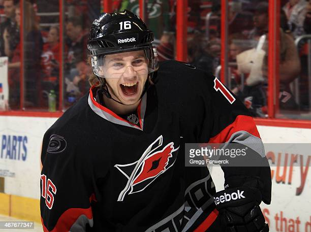 Elias Lindholm of the Carolina Hurricanes participates in warmups prior to an NHL game against the Florida Panthers at PNC Arena on February 7, 2014...