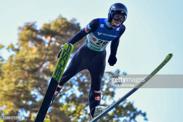 Elias Medwed of Austria competes during the FIS Grand Prix Skijumping Hinzenbach at on February 6, 2021 in Eferding, Austria.