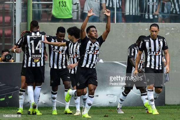 Elias of Atletico MG celebrates a scored goal against Palmeiras during a match between Atletico MG and Palmeiras as part of Brasileirao Series A 2018...