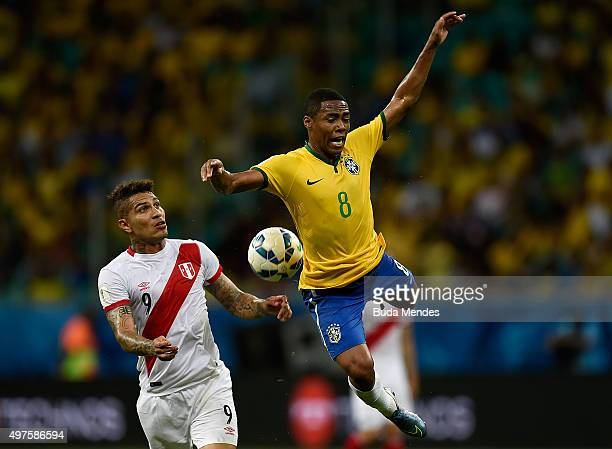 Elias of Brazil battles for the ball with Paolo Guerrero of Peru during a match between Brazil and Peru as part of 2018 FIFA World Cup Russia...
