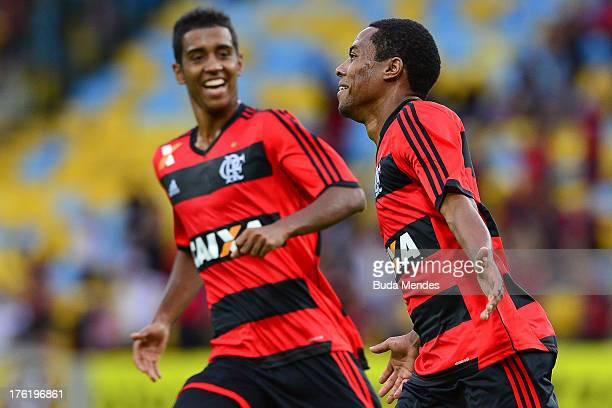 Elias of Flamengo celebrates a scored goal against Fluminense during a match between Fluminense and Flamengo as part of Brazilian Championship 2013...