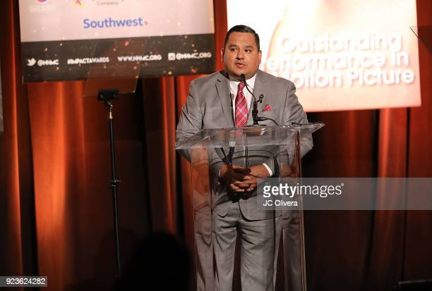 Elias Ontiveros speaks onstage during the 21st Annual National Hispanic Media Coalition Impact Awards Gala at Regent Beverly Wilshire Hotel on...