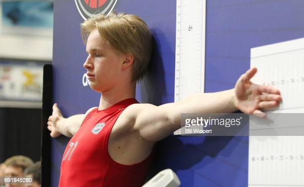 Elias Pettersson is measured during the NHL Combine at HarborCenter on June 3 2017 in Buffalo New York