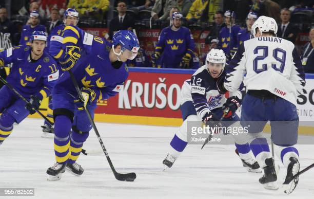 Elias Pettersson of Sweden in action during the 2018 IIHF Ice Hockey World Championship Group A between Sweden and France at Royal Arena on May 7...