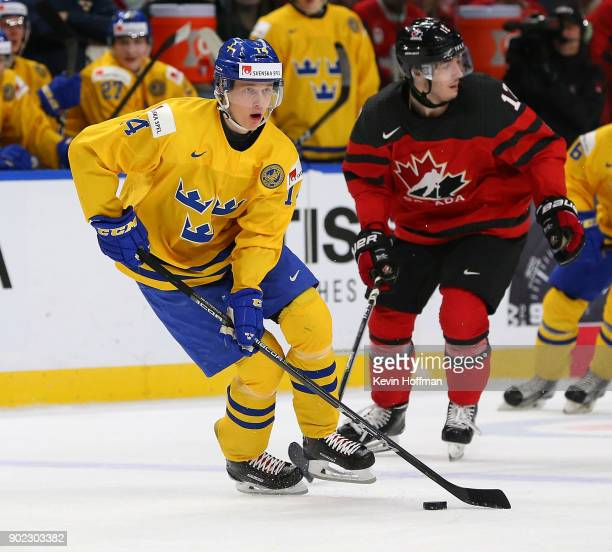 Elias Pettersson of Sweden in play against Canada during the Gold medal game of the IIHF World Junior Championship at KeyBank Center on January 5...