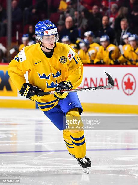 Elias Pettersson of Team Sweden skates during the 2017 IIHF World Junior Championship preliminary round game against Team Switzerland at the Bell...