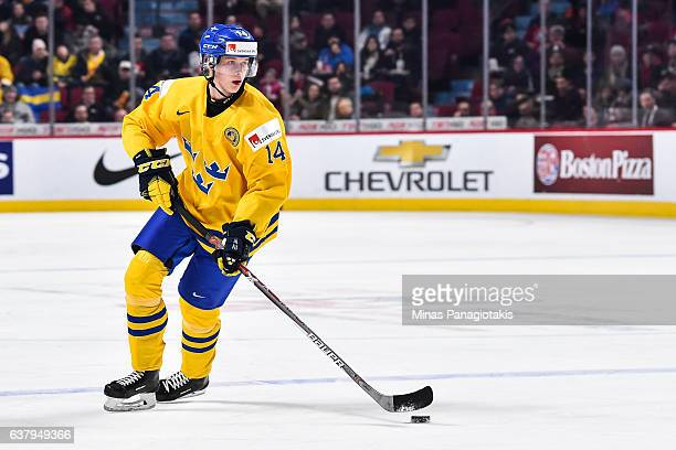 Elias Pettersson of Team Sweden skates the puck during the 2017 IIHF World Junior Championship quarterfinal game against Team Slovakia at the Bell...