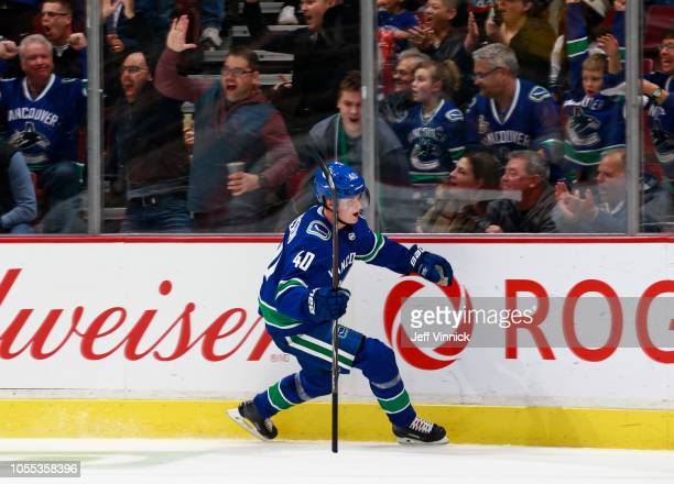 Elias Pettersson of the Vancouver Canucks celebrates after scoring during their NHL game against the Minnesota Wild at Rogers Arena October 29 2018...