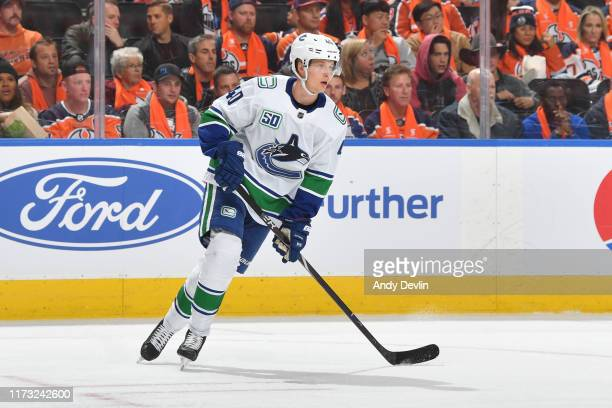 Elias Pettersson of the Vancouver Canucks skates during the game against the Edmonton Oilers on October 2 2019 2019 at Rogers Place in Edmonton...