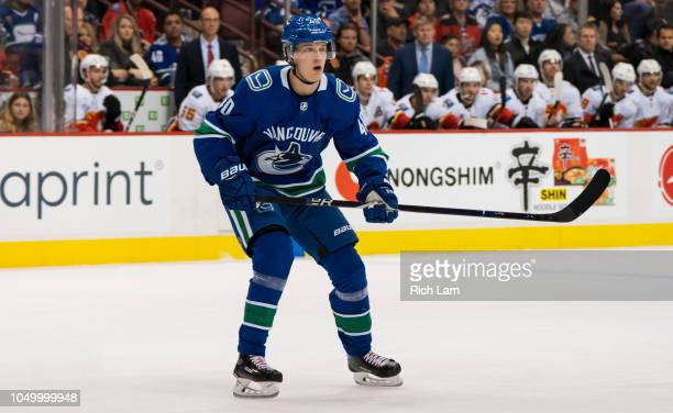 Elias Pettersson of the Vancouver Canucks skates in NHL action against the Calgary Flames during his first game in the NHL on October 2018 at Rogers...