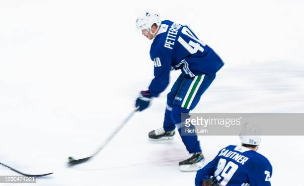 Elias Pettersson of the Vancouver Canucks skates on the first day of the Vancouver Canucks NHL Training Camp at Rogers Arena on January 4, 2021 in...