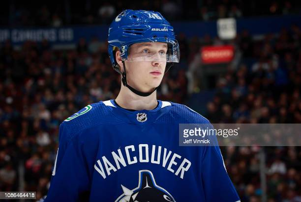 Elias Pettersson of the Vancouver Canucks skates up ice during their NHL game against the St Louis Blues at Rogers Arena December 20 2018 in...