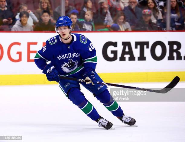 Elias Pettersson of the Vancouver Canucks skates up ice during their NHL game against the Los Angeles Kings at Rogers Arena March 28 2019 in...