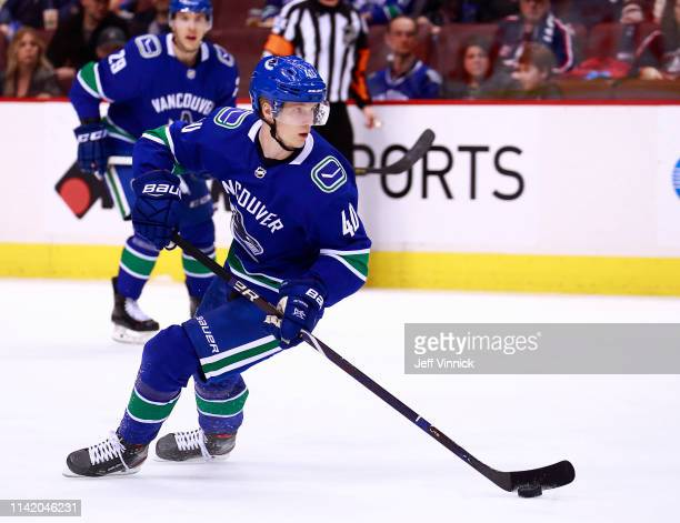 Elias Pettersson of the Vancouver Canucks skates up ice during their NHL game against the Columbus Blue Jackets at Rogers Arena March 24 2019 in...