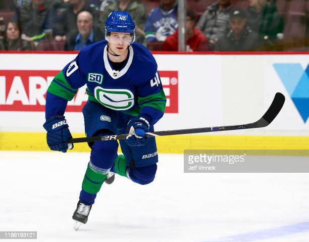 Elias Pettersson of the Vancouver Canucks skates up ice during their NHL game against the St Louis Blues at Rogers Arena November 5 2019 in Vancouver...