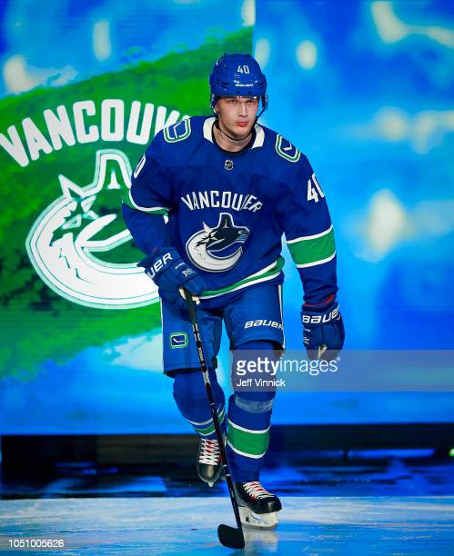 Elias Pettersson of the Vancouver Canucks steps onto the ice during their NHL game against the Calgary Flames at Rogers Arena October 3 2018 in...