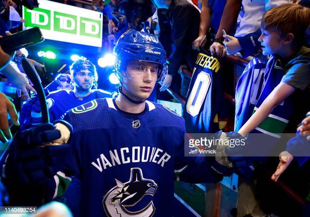 Elias Pettersson of the Vancouver Canucks walks out to the ice during their NHL game against the San Jose Sharks at Rogers Arena April 2 2019 in...