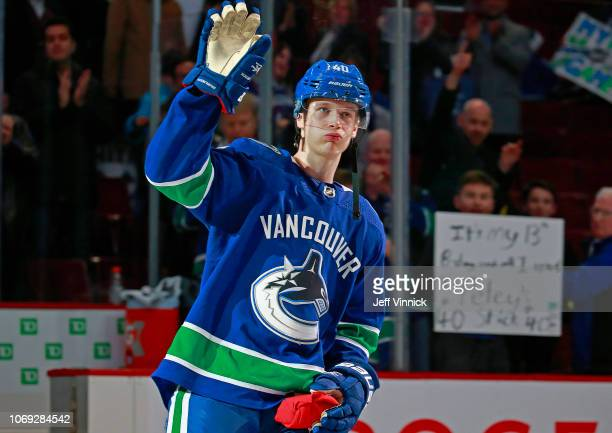 Elias Pettersson of the Vancouver Canucks waves to fans after their NHL game against the Nashville Predators at Rogers Arena December 6 2018 in...