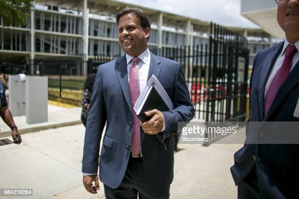 Elias Sanchez, Governor Ricardo Rossello's representative on the federal board, leaves the Federal Courthouse in San Juan, Puerto Rico, on Wednesday,...