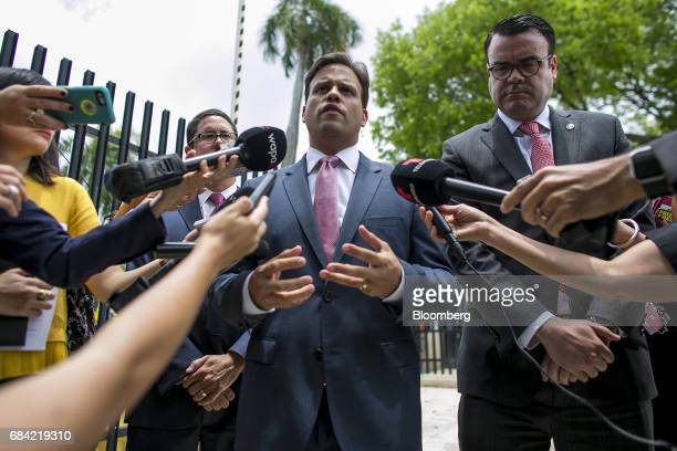 Elias Sanchez GovernorRicardo Rossello's representative on the federal board speaks to members of the media outside the Federal Courthouse in San...