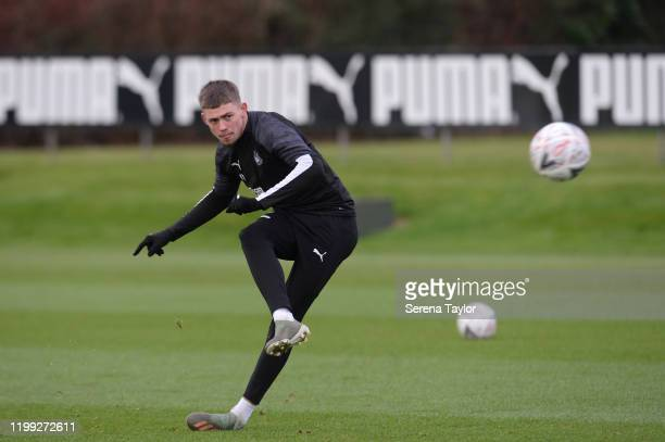 Elias Sorensen strikes the ball during the Newcastle United Training Session at the Newcastle United Training Centre on January 13 2020 in Newcastle...