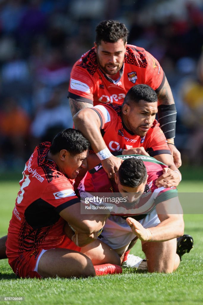 Elias Sukkar of Lebanon is tackled during the 2017 Rugby League World Cup Quarter Final match between Tonga and Lebanon at AMI Stadium on November 18, 2017 in Christchurch, New Zealand.